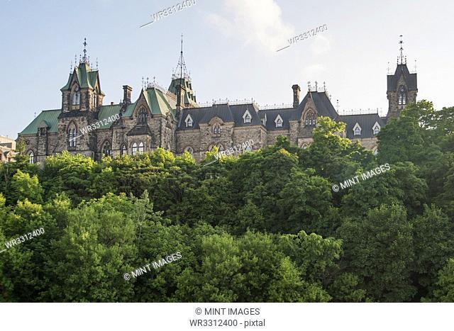 Parliament Hill overlooking treetops, Ottawa, Ontario, Canada