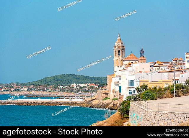 Sandy beach and historic old town in the Mediterranean complex Sitges near Barcelona, ??Costa Dorada, Catalonia, Spain