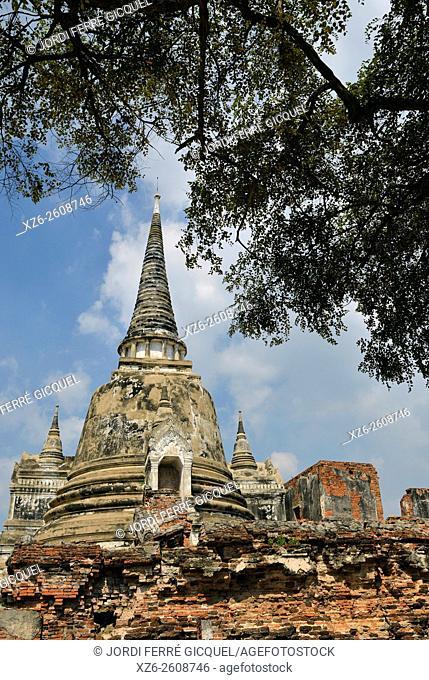 Wat Phra Si Sanphet, buddhist temple, Phra Nakhon Si Ayutthaya, Thailand, Asia