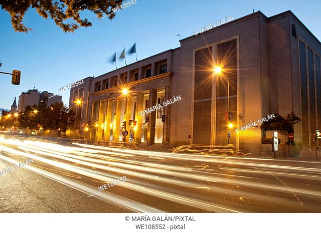 Real Casa de la Moneda museum, night view. Madrid, Spain