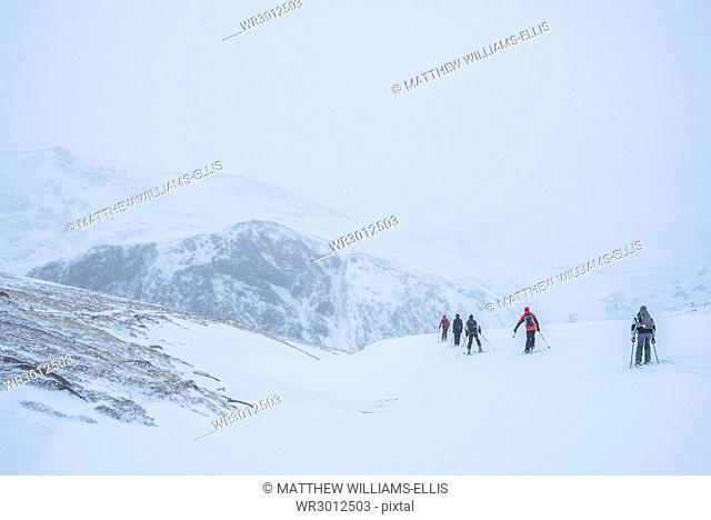 Ski touring at CairnGorm Mountain Ski Resort, Aviemore, Cairngorms National Park, Scotland, United Kingdom, Europe