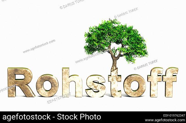 3D Rohstoff Schrift mit Baum
