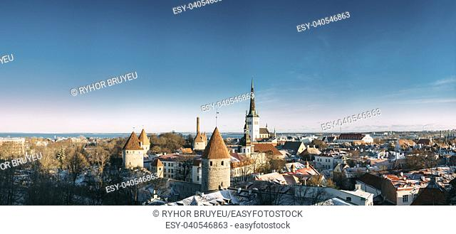 Tallinn, Estonia. Panoramic View Of Part Of Tallinn City Wall With Towers, At Top Of Photo There Is Tower Of Church Of St. Olaf Or Olav
