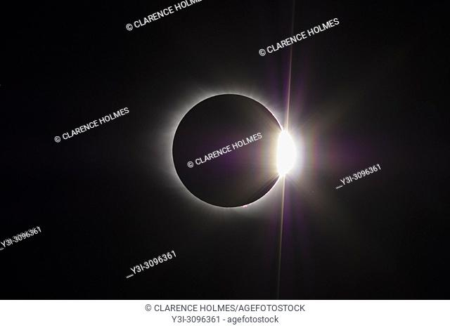 The Sun's corona and the diamond ring effect are visible at the end of the total eclipse phase of the Great American Eclipse on August 21, 2017