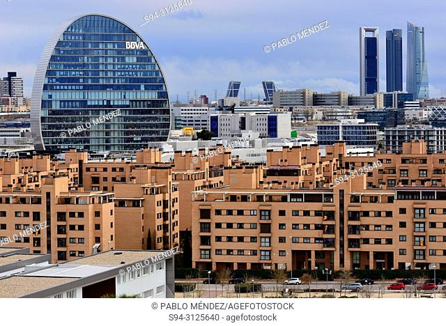 View of La Vela building and Four tower in business area, Madrid, Spain
