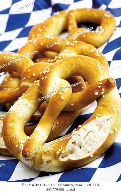 Pretzels, on Bavarian tablecloth
