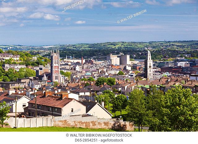 Ireland, County Cork, Cork City, elevated city view from the west