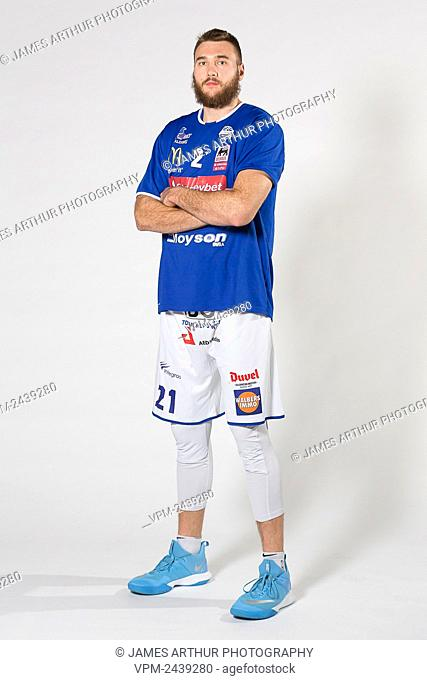 Mechelen's Eric Stuteville poses at a photoshoot ahead of the basketball match between Kangoeroes Mechelen vs Leuven Bears, Friday 06 December 2019 in Mechelen