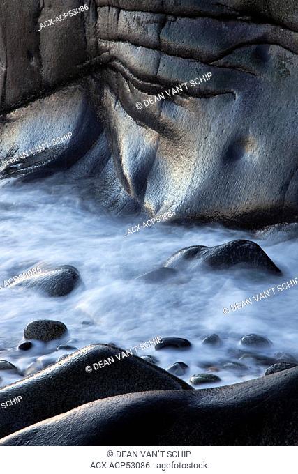 Beach Rocks, Wave Action, Erosion, Roberts Creek, Strait of Georgia, Sunshine Coast, B.C., Canada