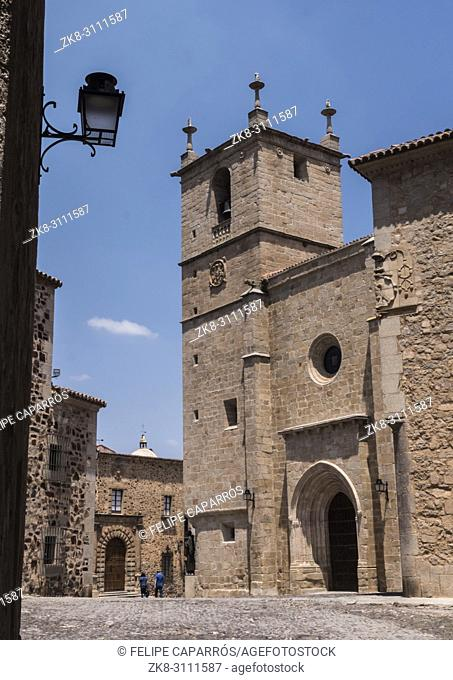 Caceres, Spain - july 13, 2018: Santa Maria's Cathedral, romantic style of transition to Gothic, with some Renaissance elements