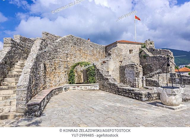 Citadel on the Old Town of Budva city on the Adriatic Sea coast in Montenegro