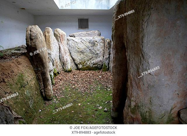 knockmany chambered cairn of queen anya covered and protected to conserve the megalithic art on the stones county tyrone northern ireland uk