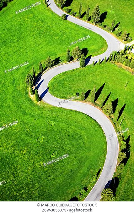 Aerial View of the Montichiello road in Siena Italy