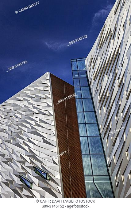 Facade cladding detail of the Titanic Maritime Museum designed by the architects Eric Kuhne and Associates, Titanic Quarter, Belfast, Co
