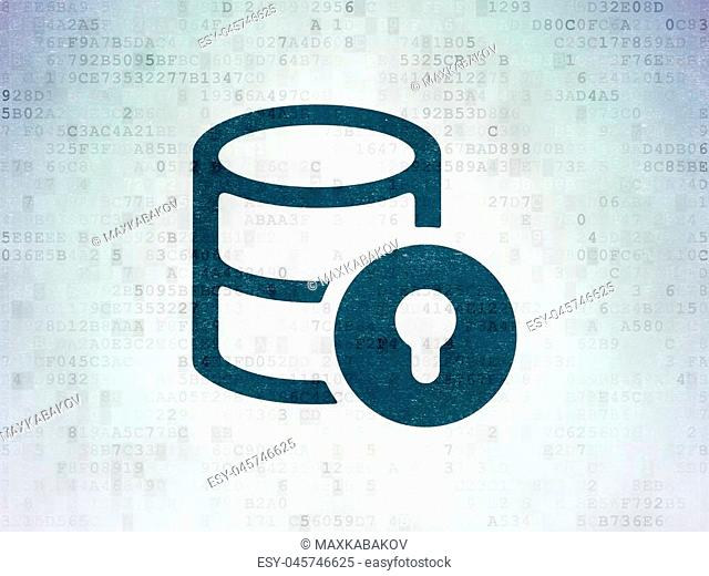 Database concept: Painted blue Database With Lock icon on Digital Data Paper background