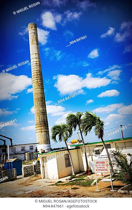 Chimney of the old sugar factory of the Central Sugar by Pablo de la Torriente Brau in the municipality of Bahia Honda in the Cuban province of Pinar del Rio