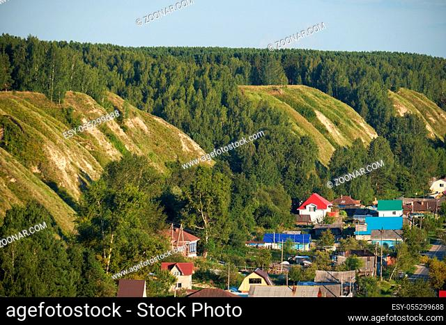 The view from the Alafeyskaya mountain where Tobolsk kremlin is situated along the south slope of terrace over Irtysh river down to the piedmont