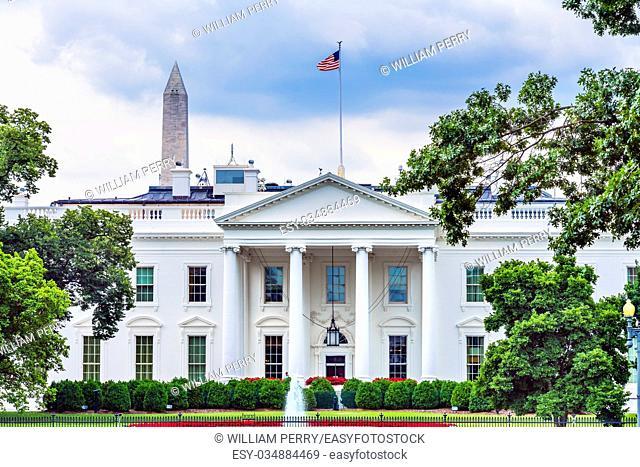 White House Washington Monument Summer Red Flowers Fountain Pennsylvania Ave Washington DC