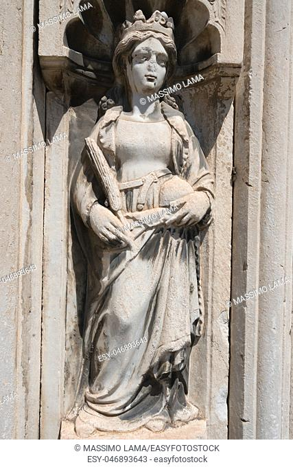 Statue in San Giovanni a Carbonara,Gothic church in Naples, Italy
