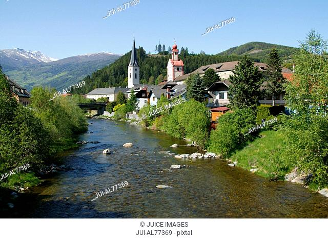View of a river and town, Gmuend, Malta, Kaernten, Austria