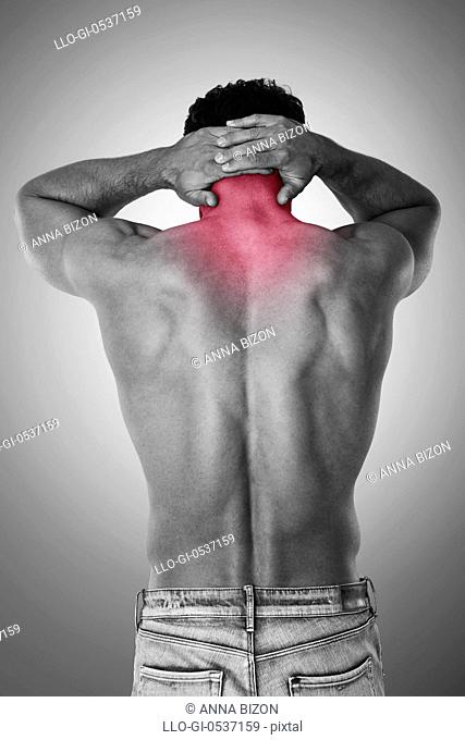 Man with severe neck pain. Debica, Poland