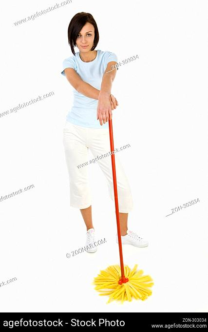 Young woman standing with mop and looking at camera. Whole body. Front view. White background