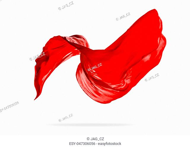 Smooth elegant red transparent cloth separated on white background. Texture of flying fabric