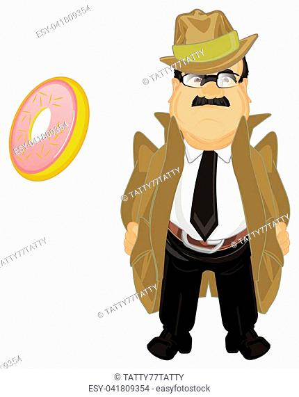 sad detective with pink donut