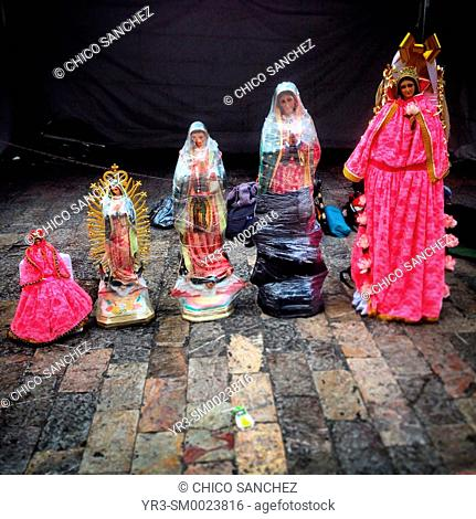 Sculptures of the Virgin of Guadalupe during the anual pilgrimage to Our Lady of Guadalupe Basilica in Mexico City, Mexico