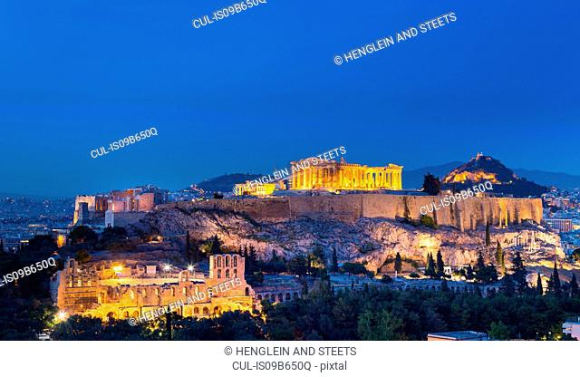 The Acropolis illuminated at night, Athens, Attiki, Greece, Europe
