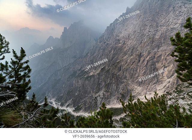 europe, North Italy, Veneto, Belluno, Monti del Sole, Dolomites. The impressive val Pegolera from the panoramic balcony of the Bus de le Neole fork