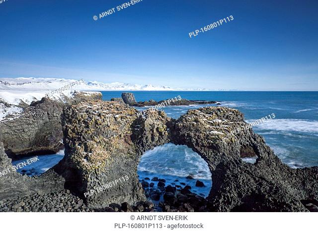 Gatklettur - Arch Rock - cliff with natural arch near Arnarstapi, Snaefellsnes, Iceland