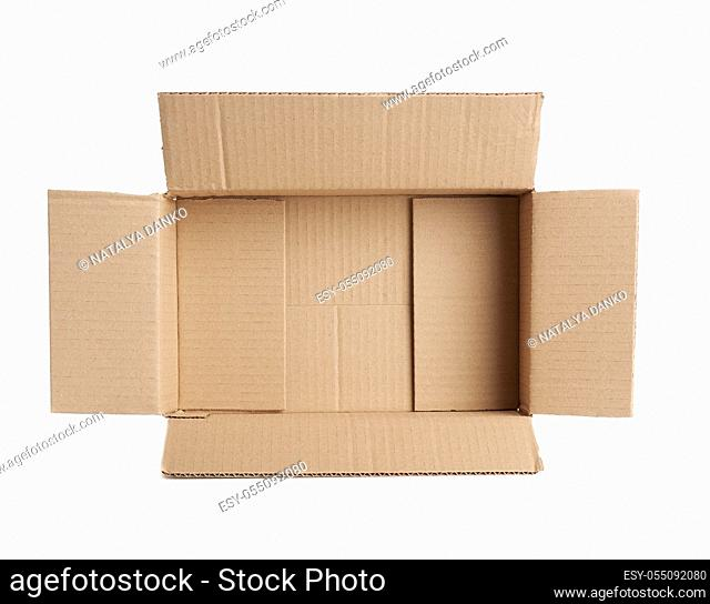 open empty brown rectangular cardboard box for transporting goods isolated on white background, top view