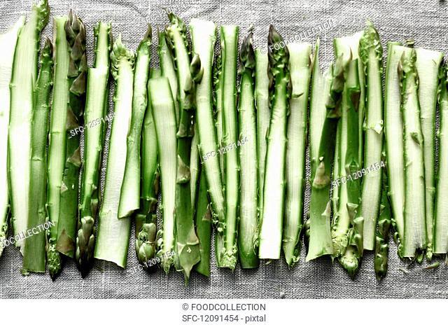 Sliced green asparagus