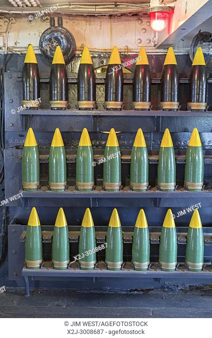 Houston, Texas - Artillery shells on the Battleship Texas, which served in World War I and World War II. The vessel is now a museum ship