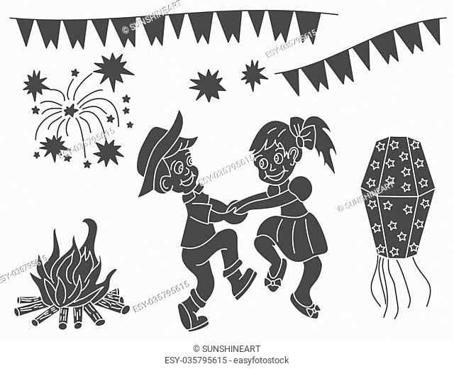 Festa Junina vector design elements isolated on a white background. Latin American holiday. June party of Brazil