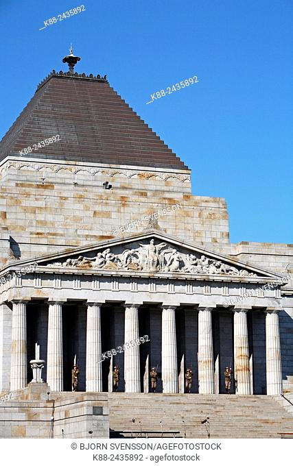 The Shrine of remembrance, a memorial to Australians who served in war. Melbourne, Victoria, Australia