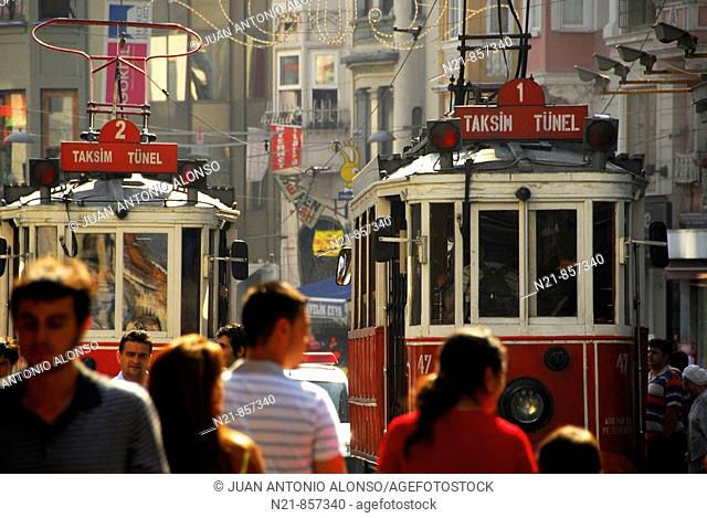 Tramways at Istiklal Caddesi, an important commercial avenue in Istanbul, Turkey