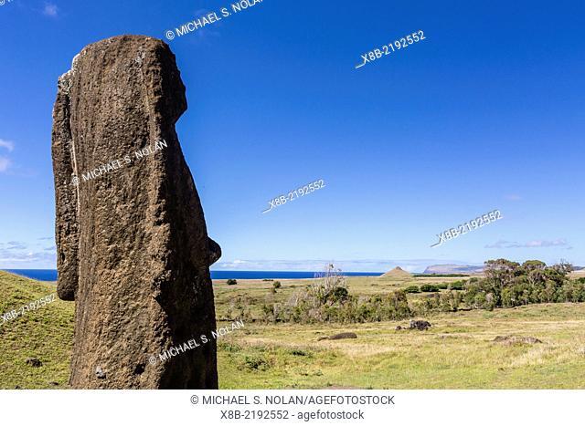 Rano Raraku, the quarry site for all moai statues on Easter Island (Isla de Pascua, Rapa Nui), Chile