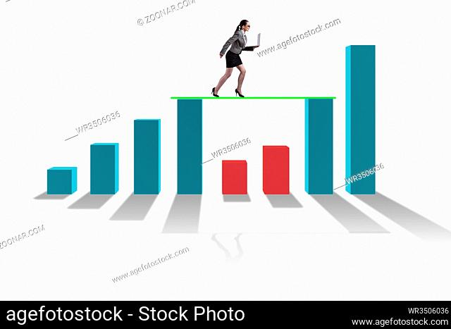 Young businesswoman in business concept with bar charts
