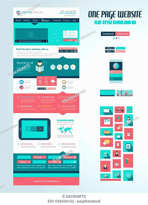 One page website flat UI design template. It include a lot of flat stlyle icons, forms, header, footeer, menu, banner and spaces for pictures and icons all in...