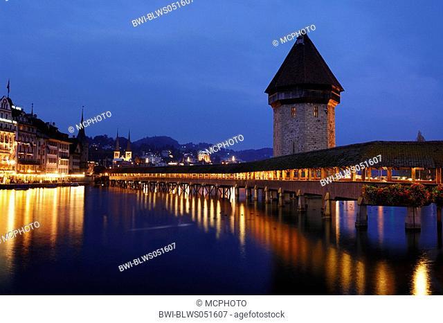 Chapel Bridge and water towr at night, Switzerland, Lucerne
