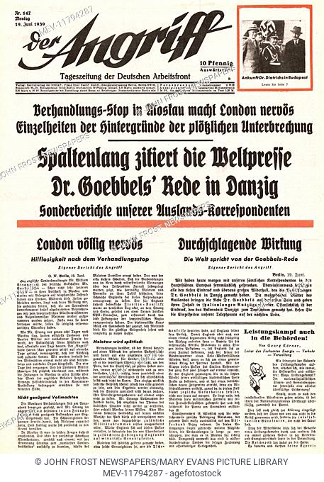 1939 Der Angriff (Germany) front page Political crisis over Danzig