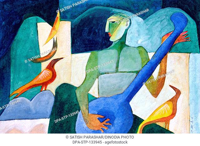 Guitar player with birds watercolor on handmade paper