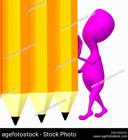 Pink 3d puppet hold yellow wall from pencils