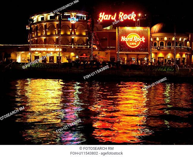 Orlando, FL, Florida, Universal Orlando Resort, Universal City Walk, Hard Rock CafT, evening