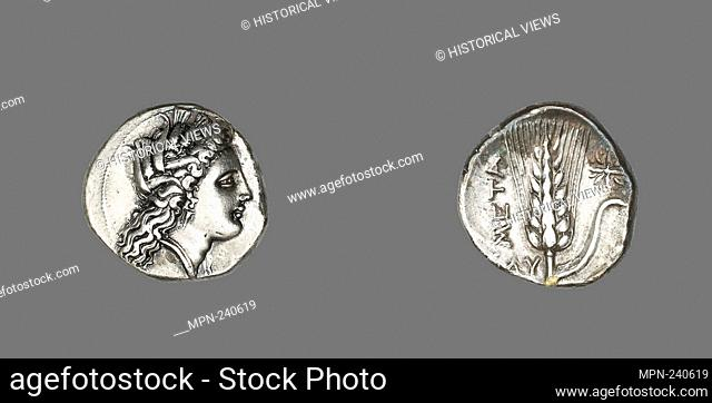 Stater (Coin) Depicting the Goddess Kore - 330/300 BC - Greek, minted in Metapontum, Italy - Artist: Ancient Greek, Origin: Metapontum, Date: 330 BC-300 BC