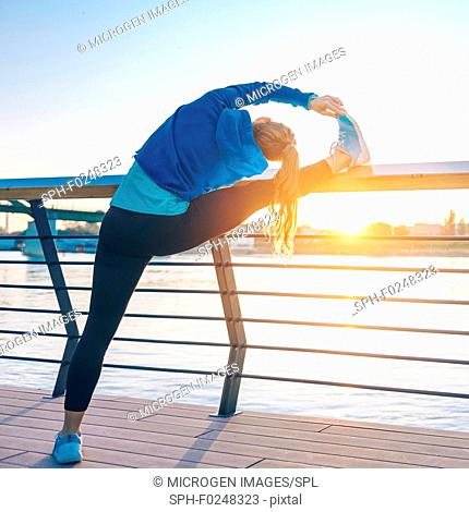 Stretching in sunset