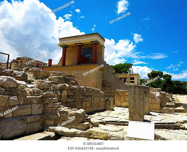 Ruins of the Minoan Palace of Knossos in Heraklion, Crete, Greece