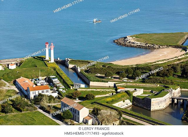 France, Charente-Maritime, Aix island, the lighthouses and the fortifications (aerial photography)